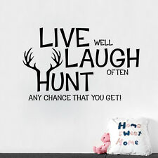 LIVE LAUGH HUNT Quote Wall Sticker Inspirational Saying Vinyl Home Decal