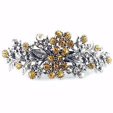 Vintage BARRETTE Rhinestone Crystal Hair Clip Hairpin Victorian Flower Yellow