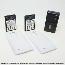 2 x 6800mAh Extended Battery for LG G3 D855 VS985 White Cover Dock Charger