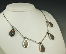 Vintage STERLING Silver NAVAJO GEMSTONE Necklace~TURQUOISE CORAL Inlay~Old Pawn