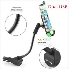 In-Car Dual USB Charger Cigarette Lighter Socket Mount Phone Holder 360° Rotable