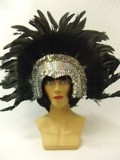 Showgirl Headdress ~ Moulin Rouge ~ Silver and Black  ~ Carnival