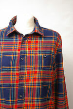 L253/32 Burton Teenage Boy's Blue/Red Tartan Flannel Cotton Shirt, age 14-16