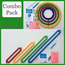 KnitUK Knitting Loom Combo Pack: 4 Round + 4 Long Looms. MultiColoured. Set of 8