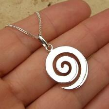 Spiral swirl design 925 Sterling Silver Pendant Necklace Jewellery