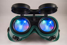 Steampunk Cyber Goth Goggles Green Frame RGB LED Light in Lense Halloween Xmas