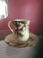 Antique ( 1941 Gift )Vine Leaf  D & C France  Porcelain Chocolate Cup and Saucer