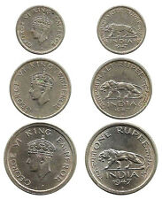 "RARE ""1947"" BRITISH INDIA ""King GEORGE VI EMPEROR"" 1/4, 1/2 & 1 RUPEE 3 Coin Set"