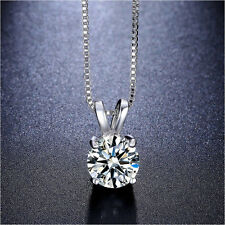 CZ Necklace 2 Carat Brilliant Cut Solitaire AAA choker box chain 4 prong pendant