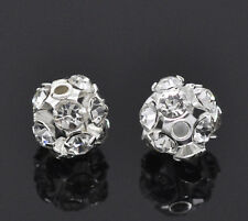 10 SILVER PLATED~FILIGREE RHINESTONE CHARMS/SPACER BEADS 6-7mm Earrings (11B) UK