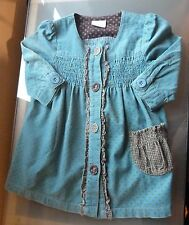 Next Baby Girls Dress Outfit 6 9 Months Cord Corduroy Teal Spotty Winter pocket