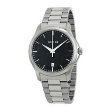 New Gucci G-Timeless Black Dial Stainless Steel Unisex 38mm Watch YA126457