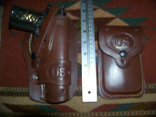 Colt 45 Model 1911 Brown Leather Holster & Magazine Pouch Wild Bunch