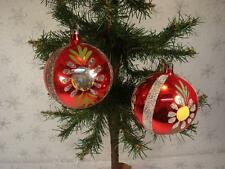 "VINTAGE LOT OF 2 LARGE 3 1/2"" RED GLASS SANTA LAND CHRISTMAS ORNAMENTS POLAND"