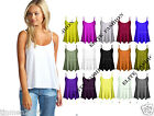 New Womens Ladies Plain Swing Vest Sleeveless Top Strappy Cami Plus Size Flared