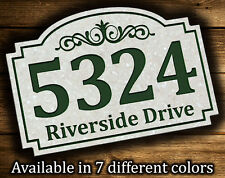 "Address Plaque 9.5""x14"" Scroll Patern Outdoor House Number Street Address Sign"