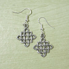 12 Wholesale Lots Silver Alloy Celtic Square Knot Dangle Earrings Sterling Hooks