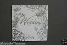Wedding Day Invitations Pack of 30 Silver Embossed Love Birds Design