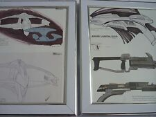 Framed Star Trek Art 8x10 proof concept Romulan starship disrupter rifle phaser