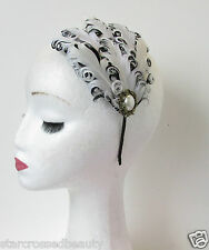 Black White Bronze Pearl Feather Headpiece Flapper Vintage 1920s Headband Q73