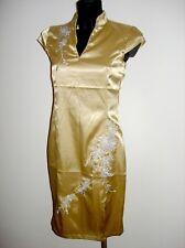 Gold farbenes Satin Glanz Kleid mit sehr schönen Applikationen Gr S
