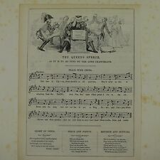 "7x10"" punch cartoon 1843 THE QUEEN`S SPEECH peace with china , music song sheet"