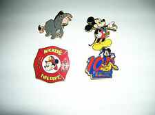 DISNEY PINS   LOT OF 4   MICKEY, EEYORE, 100 YEARS OF MAGIC, MICKEY FIRE DEPT.