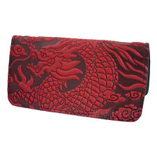 CLOUD DRAGON Oberon Design Leather CHECKBOOK COVER/Holder Red asian CKM55