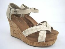 TOMS Women's Beige Canvas Ankle Strap Wedge Heel Sandals Size 7
