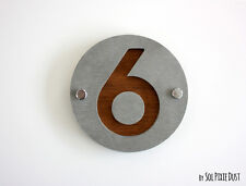 Modern House Numbers, One Number Round Concrete with Marine Plywood