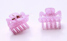 TWO BABY PINK GLITTERY MINI BULLDOG CLIPS FOR 90S GIRL GLAM HAIR CARE (ZX42)