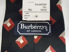 New With Tags Burberrys Men's 100% Silk Black Geometric Pattern Neck Tie