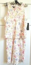 RALPH Ralph Lauren Dress LARGE 12 Two Piece Skirt Top Rayon Pink Floral Lined