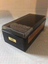 Rogers Rolodex Style Business Card File Box - Smoke Tint & Black Steel