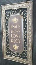 New Metal Tuscan Style Fleur de Lis Wall Art Plaque Picture Peace Hope Love Joy
