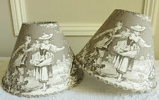 SUPERB TOILE DE JOUY LAMPSHADE 14 X 20 CM FOR SMALL TABLE LAMP TAUPE / GREY CLIP