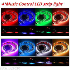 2×120+2×90CM 8Color RGB LED Strips Under Car Tube Underglow/body Music Control