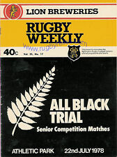 NZ ALL BLACKS RUGBY INTERNATIONAL TRIAL PROGRAMME 22 Jul 1978 at Wellington