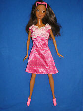 Beautiful AA Barbie Doll with Eyelashes & Hot Pink Outfit~Fringe has Been Cut In