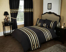 DOUBLE BED DUVET COVER SET GLITZ BLACK GOLD TRIM 200 THREAD COUNT 100% COTTON