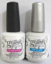 Harmony Gelish Top IT OFF Top Coat e Fondazione Base Coat .5 OZ EA. UK venditore