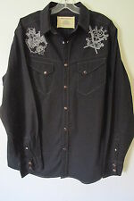 DKNY Jeans Black Long Sleeve Snap Button Front Shirt SIZE:L NWOT