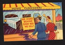 Comic Postcard couple looking in furniture store window stand behind every bed