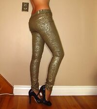 Seven 7 For All Mankind $215 Skinny Party Jeans Gold Leaf Light Metallic 25 NWT