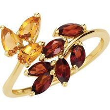Genuine Mozambique Garnets Citrines Gemstones Ring 14K. Solid Yellow Gold Size 8