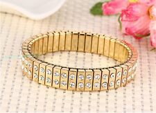 Graceful Stainless Steel Gold White Crystals CZ Stretch Women Bangle Bracelet