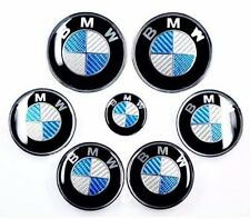 7x SET Carbon Fiber Blue/White Emblem Logo For BMW 2x82+68+45mm front back wheel