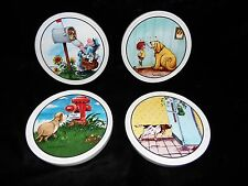 4 Gary Patterson Clay Design Ceramic Non-Slip Back Coasters - Dog Cartoons