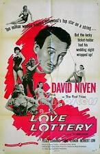 LOVE LOTTERY 1954 David Niven Peggy Cummins Herbert Lom US 1-SHEET POSTER