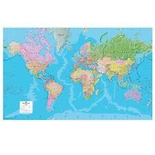 Giant World Political Map (Laminated) For Business